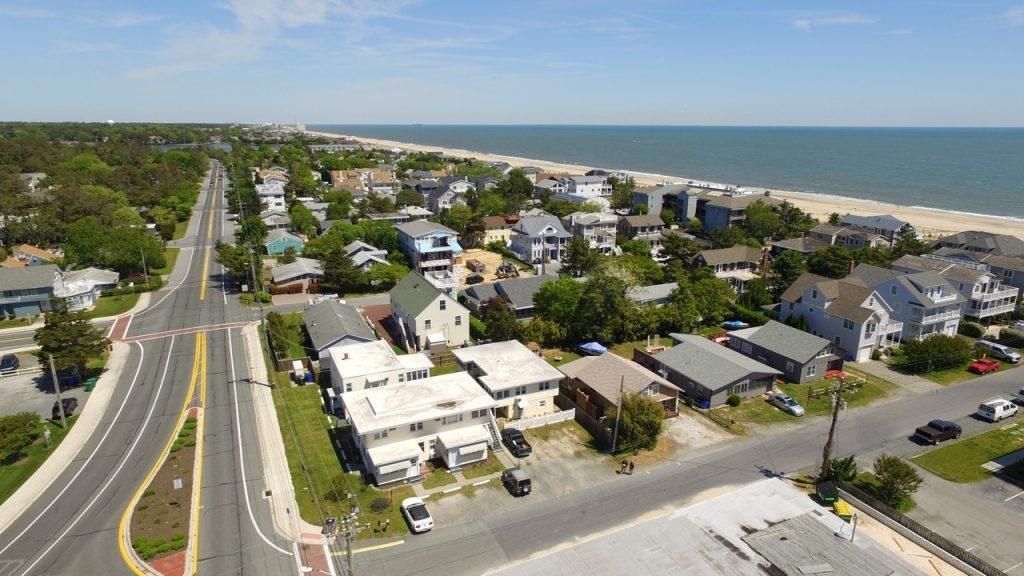 Aerial view of Ocean View Condominiums facing North towards Rehoboth