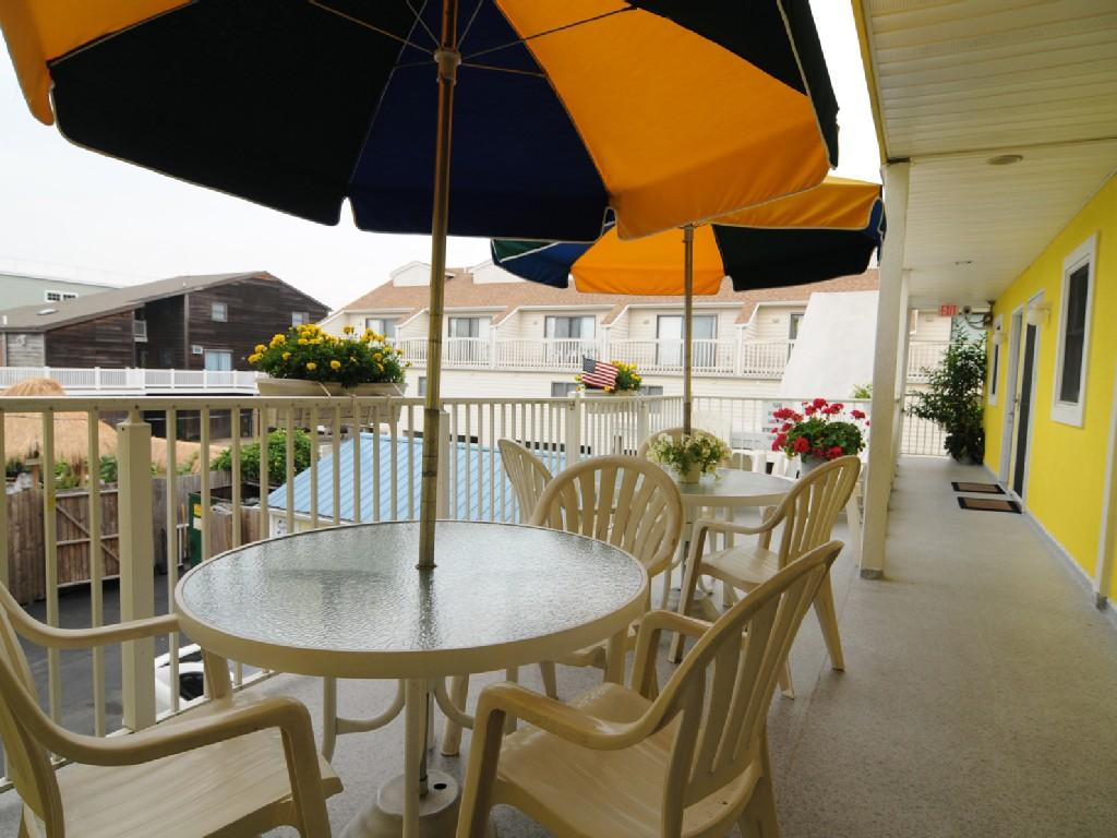 Common area patio perfect for relaxing or enjoying dining outdoors