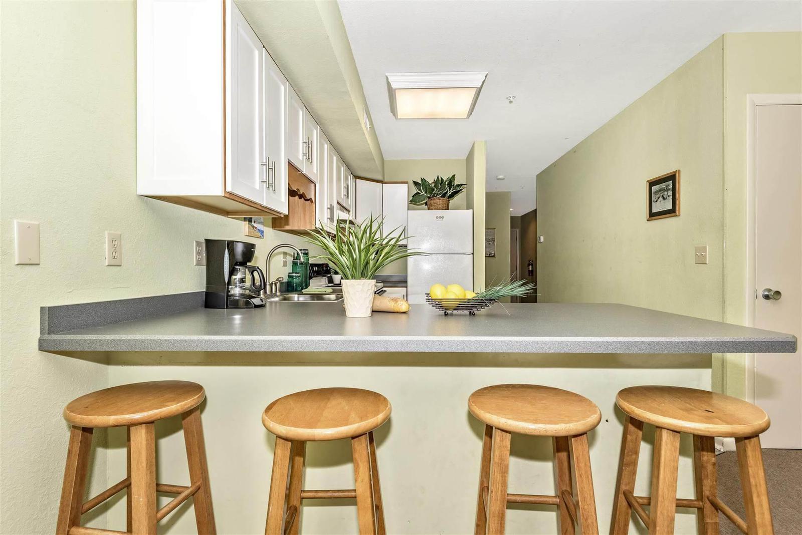 Bar seating at kitchen counter