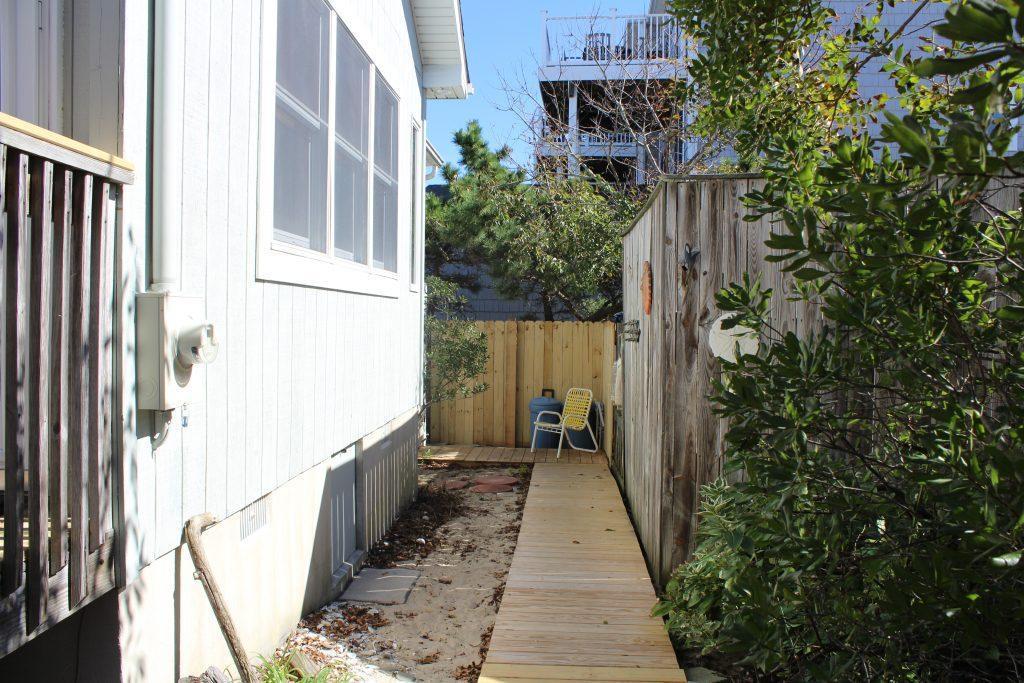 walkway to the outdoor shower