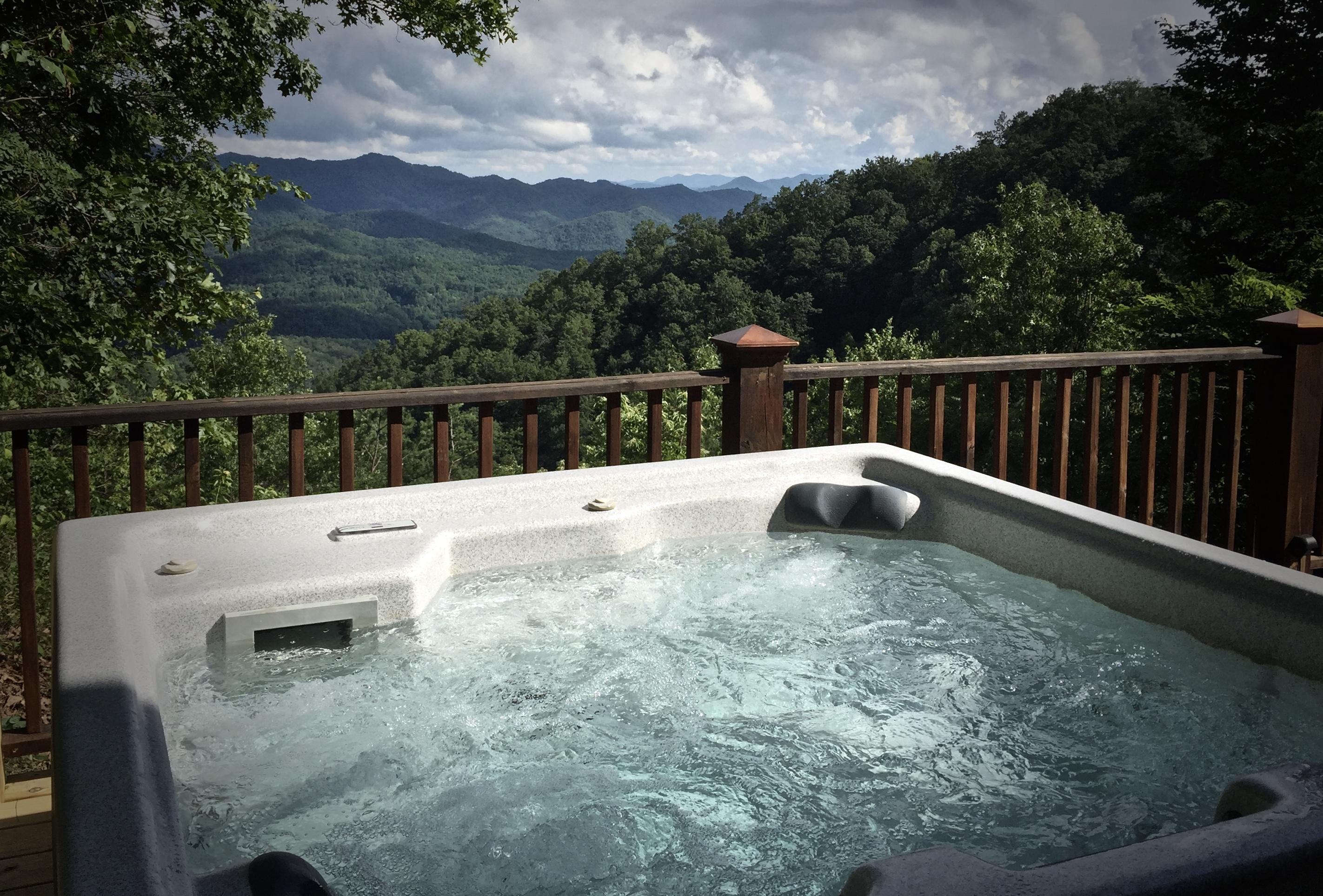 Sparkling Hot Tub is placed under the Stars, and Overlooks the Mountain Views...