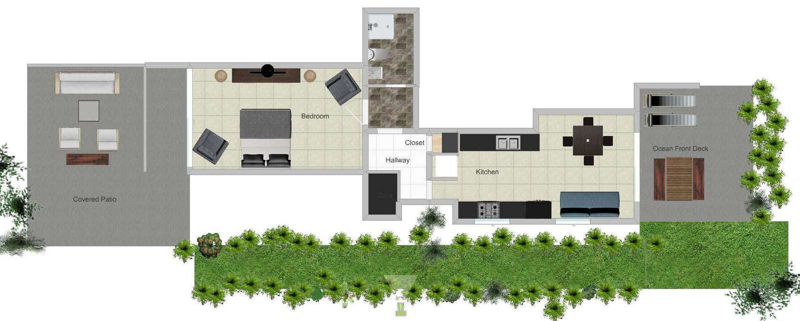 Floor plan shows roomy suite with full kitchen.