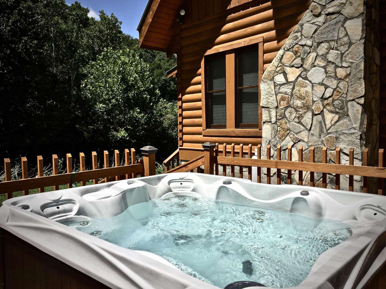 Sparkling Hot Tub awaits...