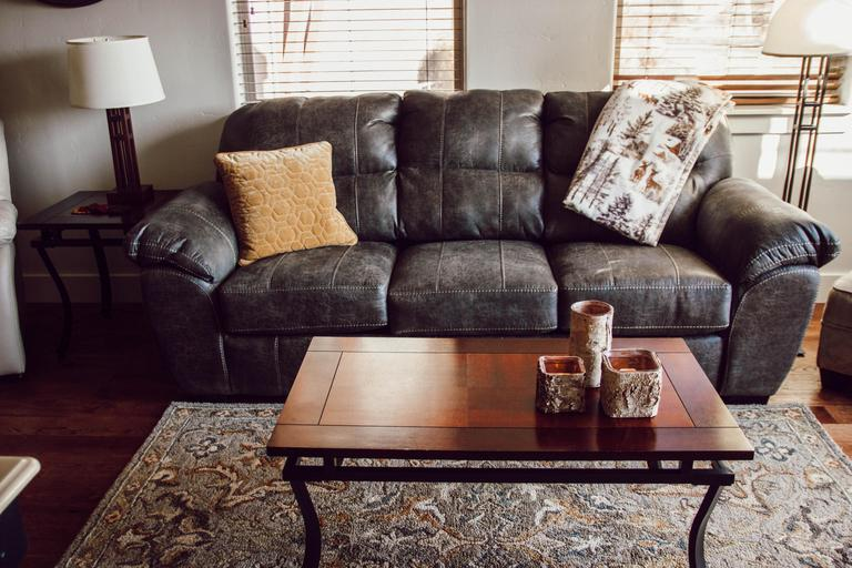 New leather couch in living room