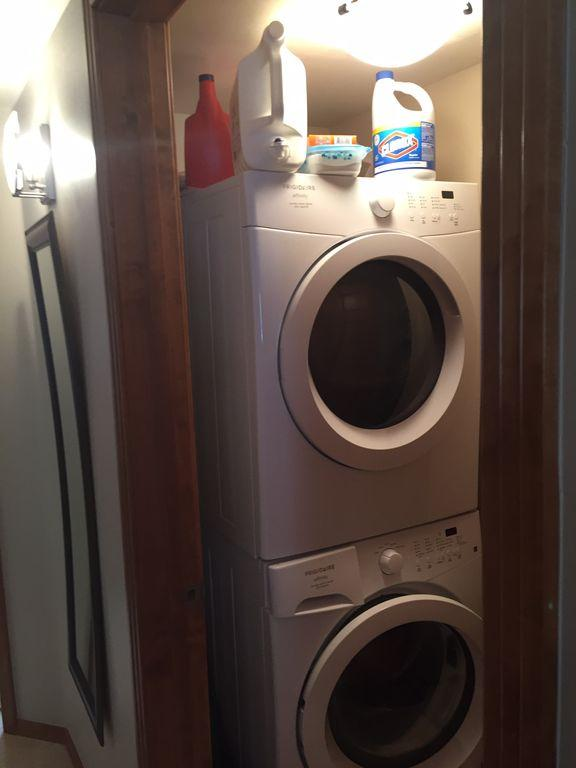 Washer and dryer in condo with all the detergent supplied