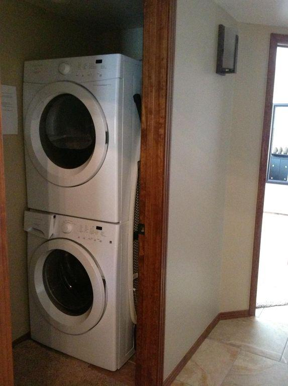 Large and efficient washer, dryer, detergent, cleaning supplies for your use.