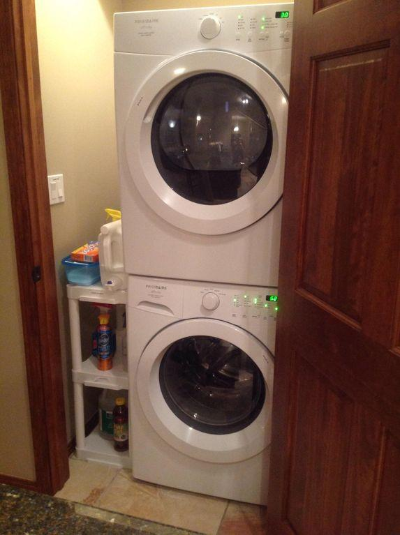 The laundry with all laundry and cleaning supplies. Located next the kitchen.