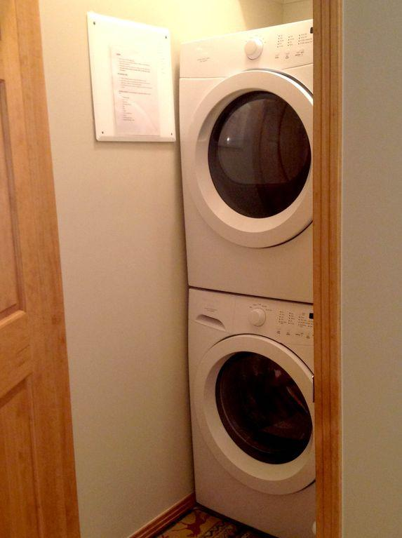 Brand new washer & dryer with laundry detergent, dryer sheets, iron, ironing boa
