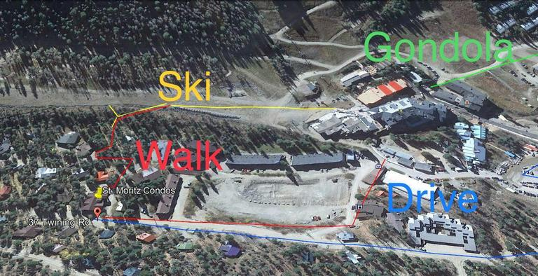 Marked map of the walk/ ski paths to base and Kid's Center