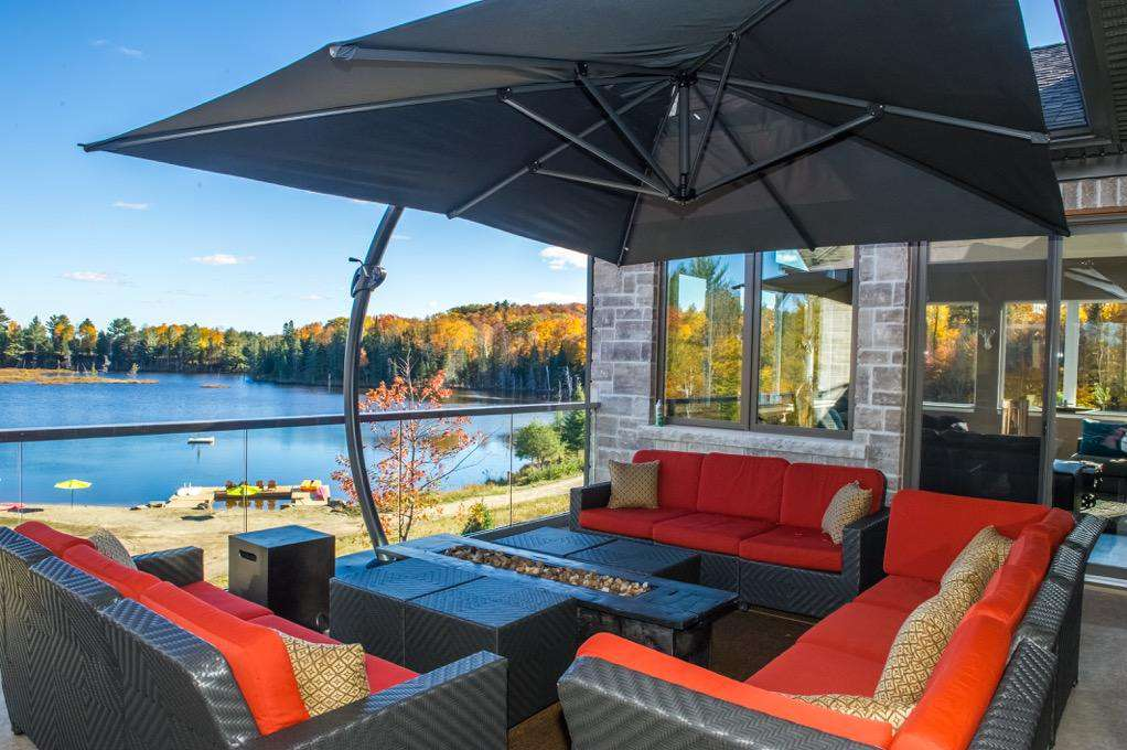 Main floor deck seating area with lake views