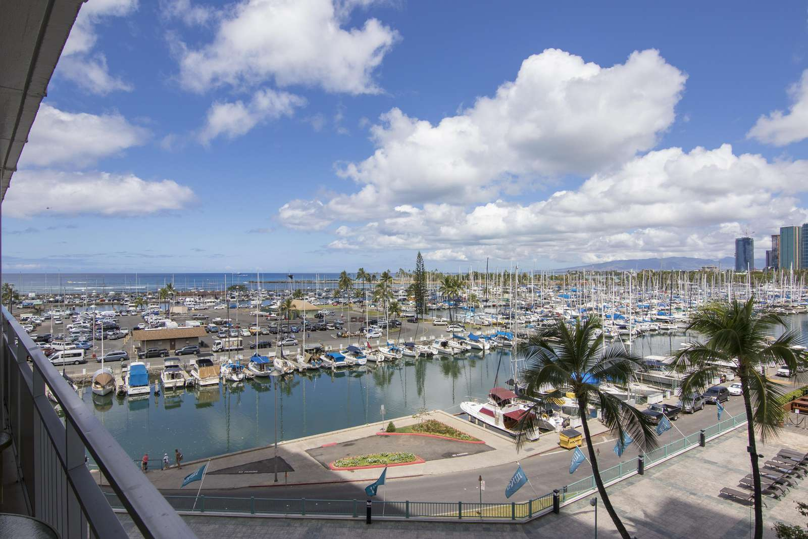 yacht harbor view from lanai