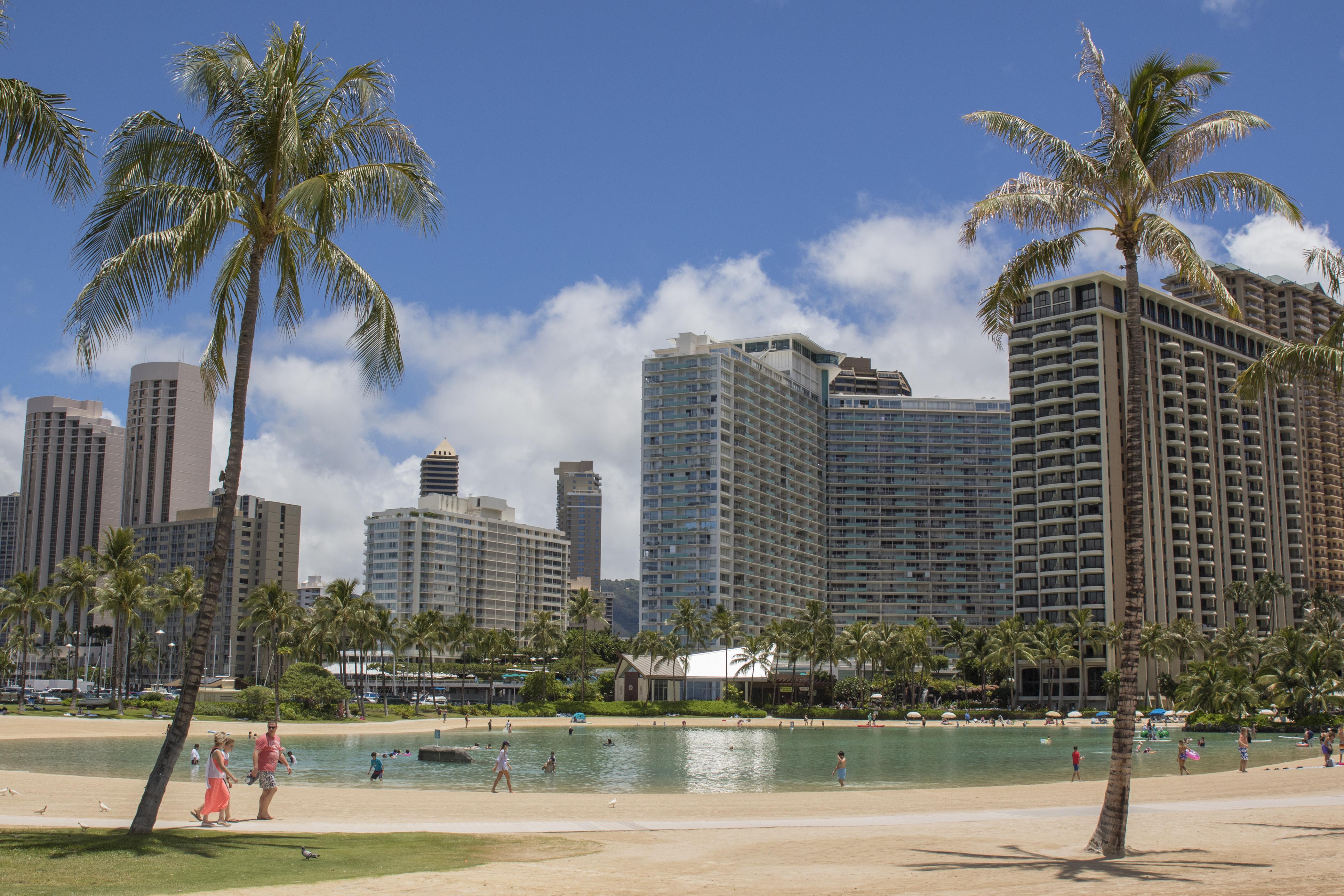 From Waikiki beach, looking at the Ilikai beyond the lagoon