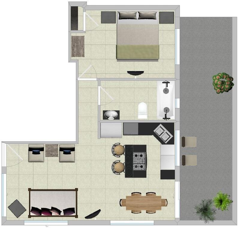 Floor plan of Bamboo 1 bedroom home