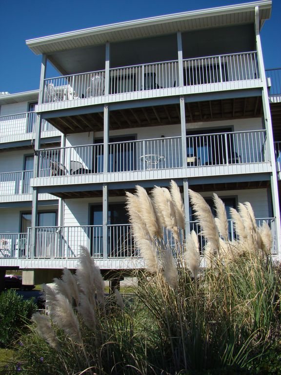 Second floor double balcony overlooking beach and gulf.