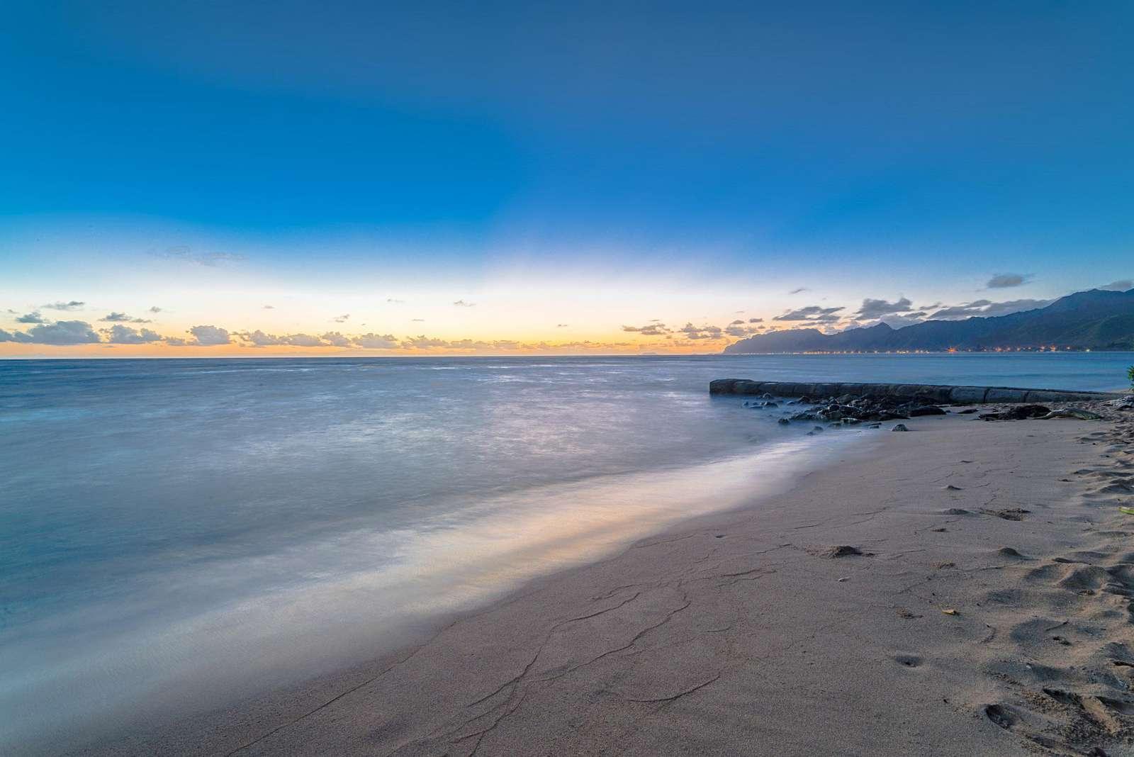 Early morning dawn at beach of Tiki Moon Villas