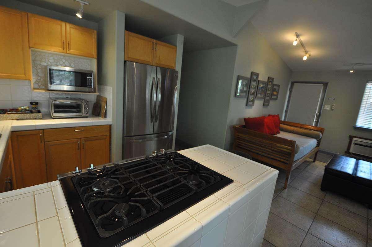 Closer view of kitchen.