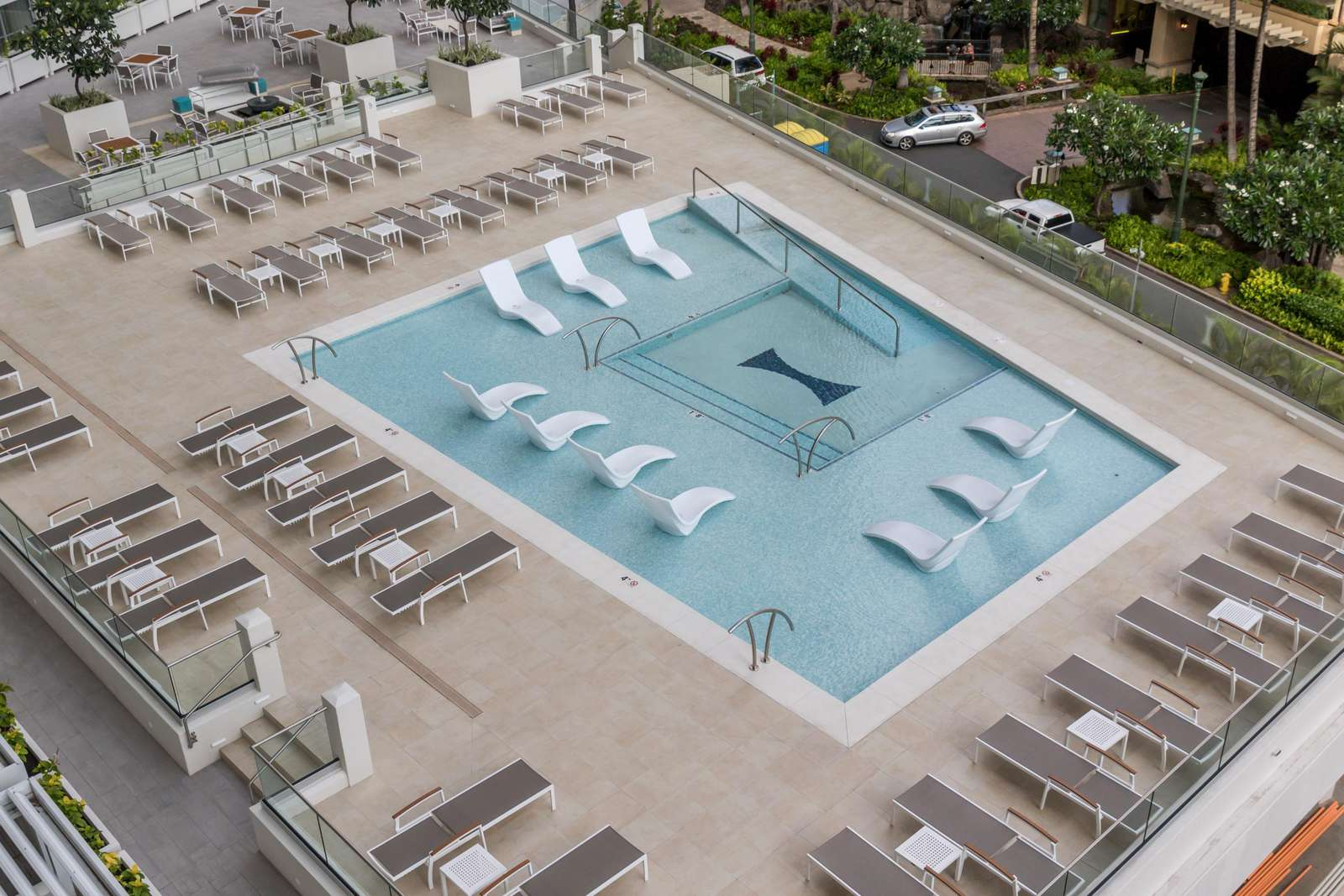 View of wading pool from room