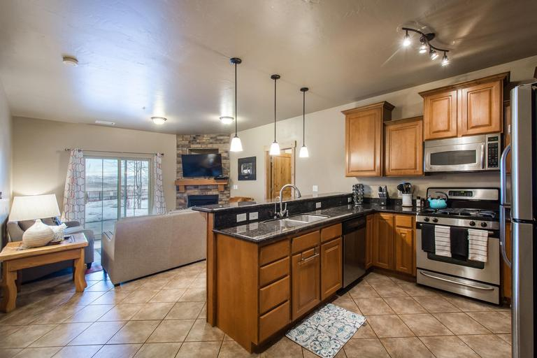 Spacious, open living room and kitchen