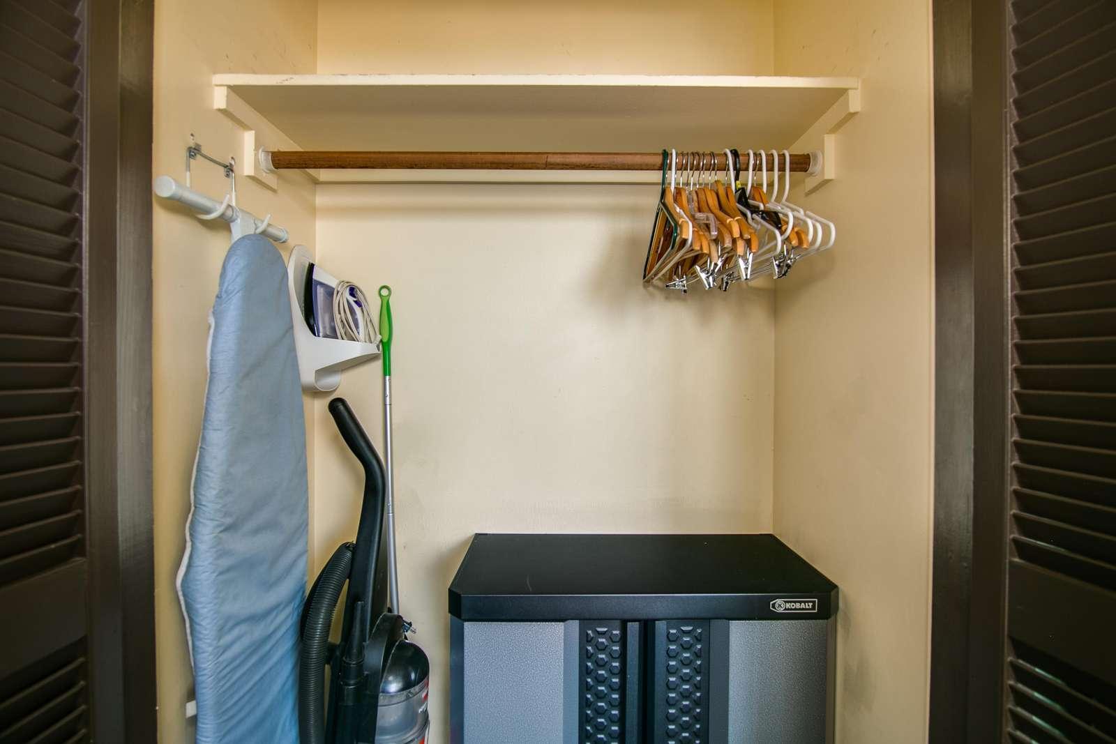 Additional storage, Iron & ironing board.