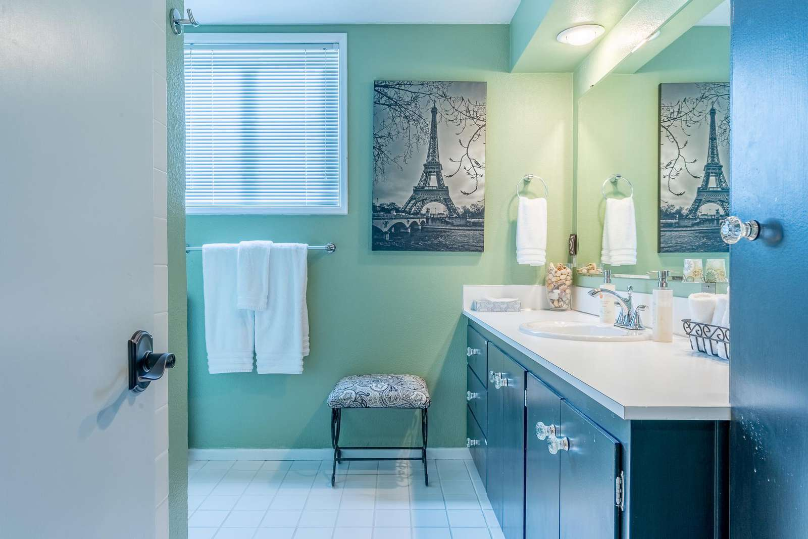 One spacious bathroom