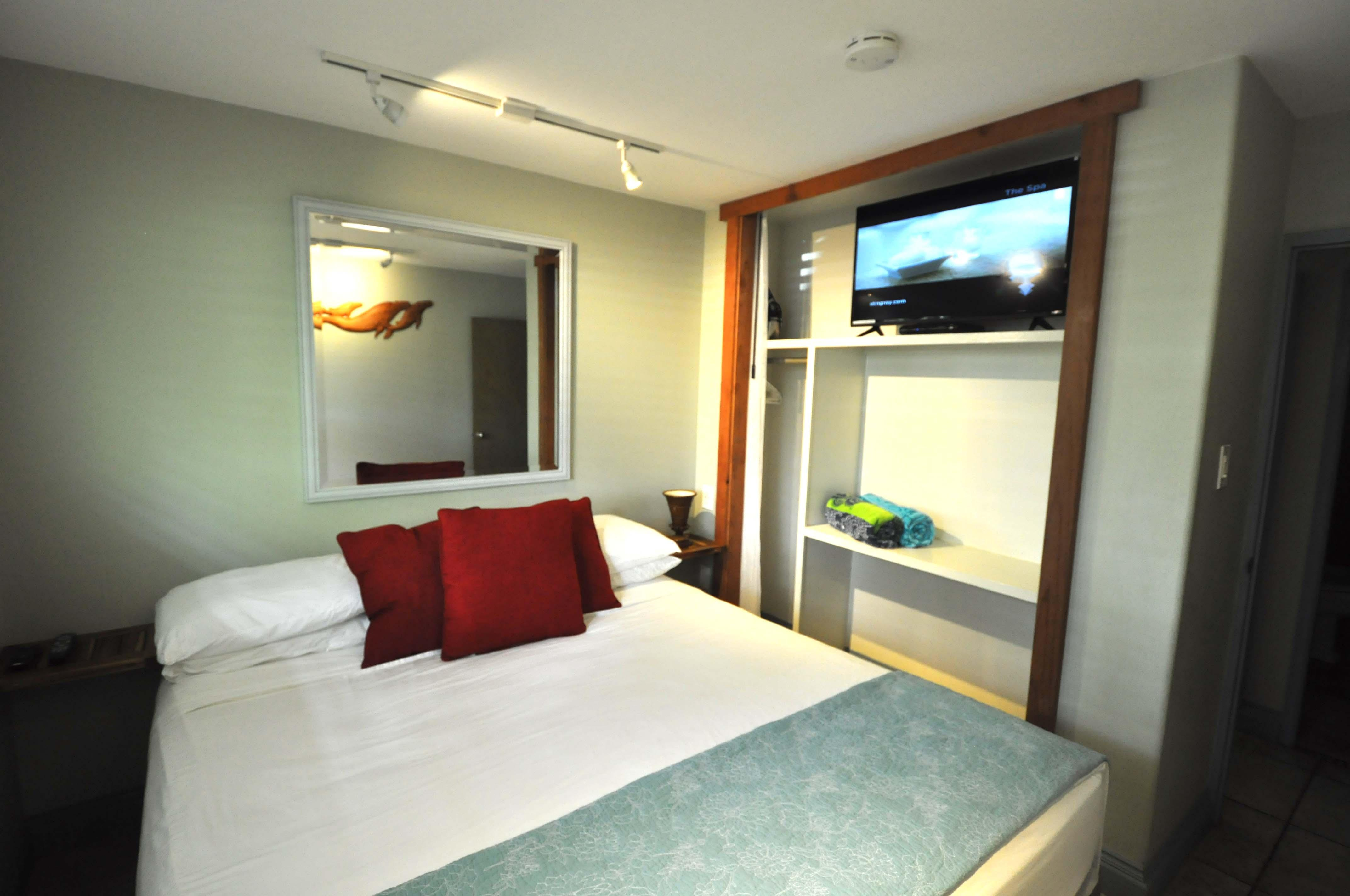 Bedroom with cal king bed.