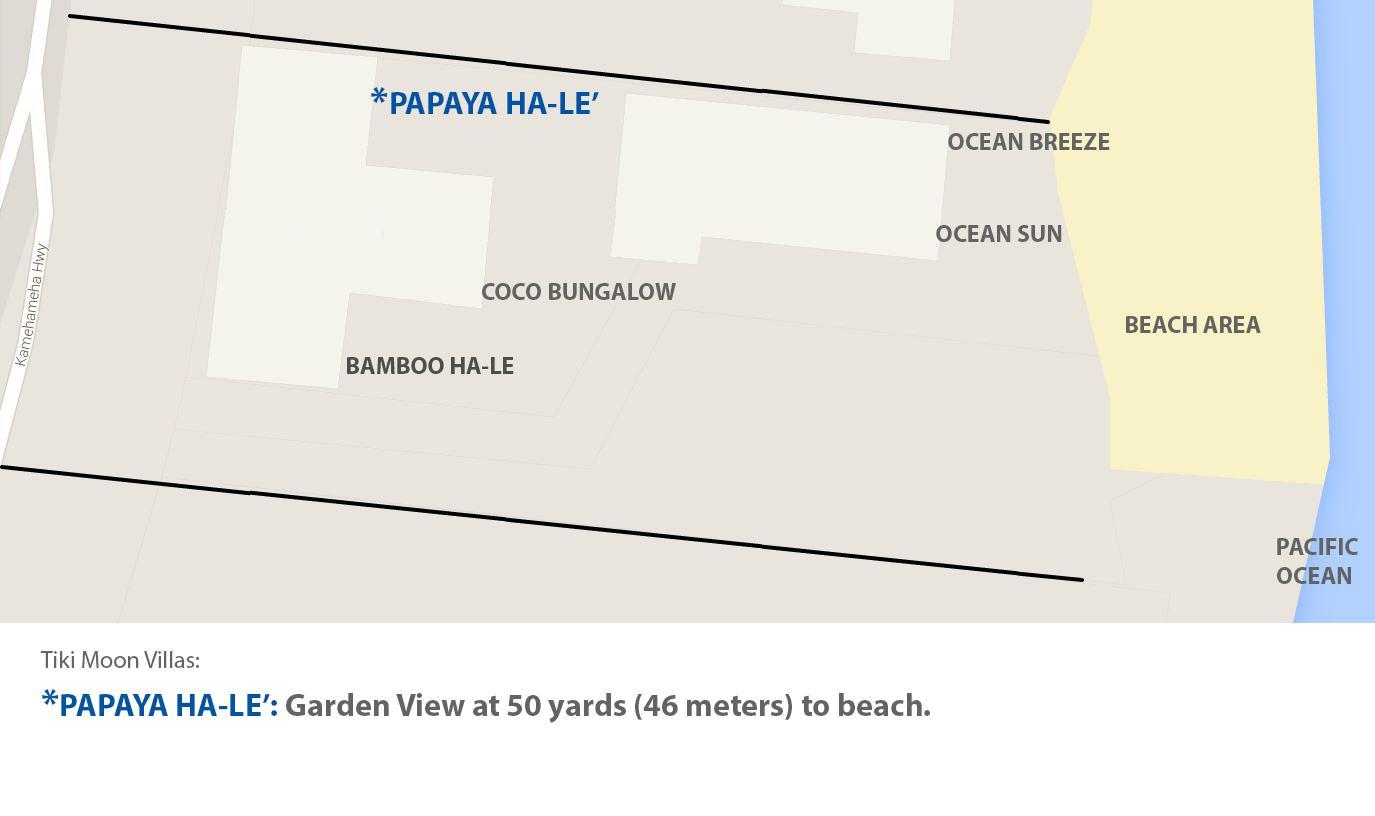 Proximity of Beach to Papaya Hale' within the garden of Tiki Moon Villas