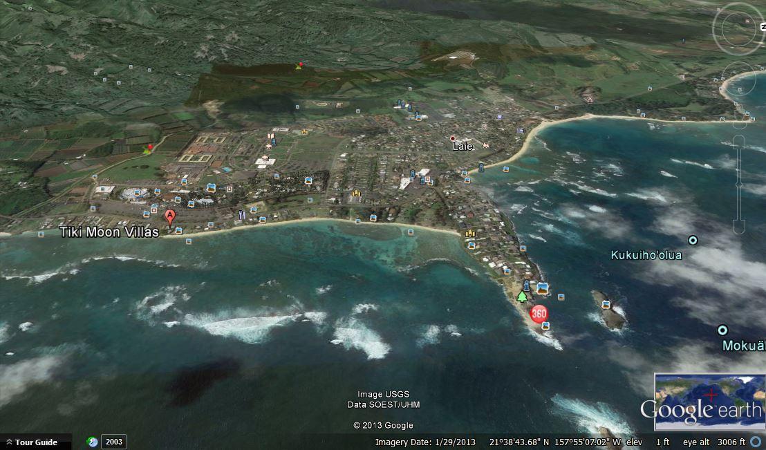 Tiki Moon Villas is in the left bottom corner by the ocean