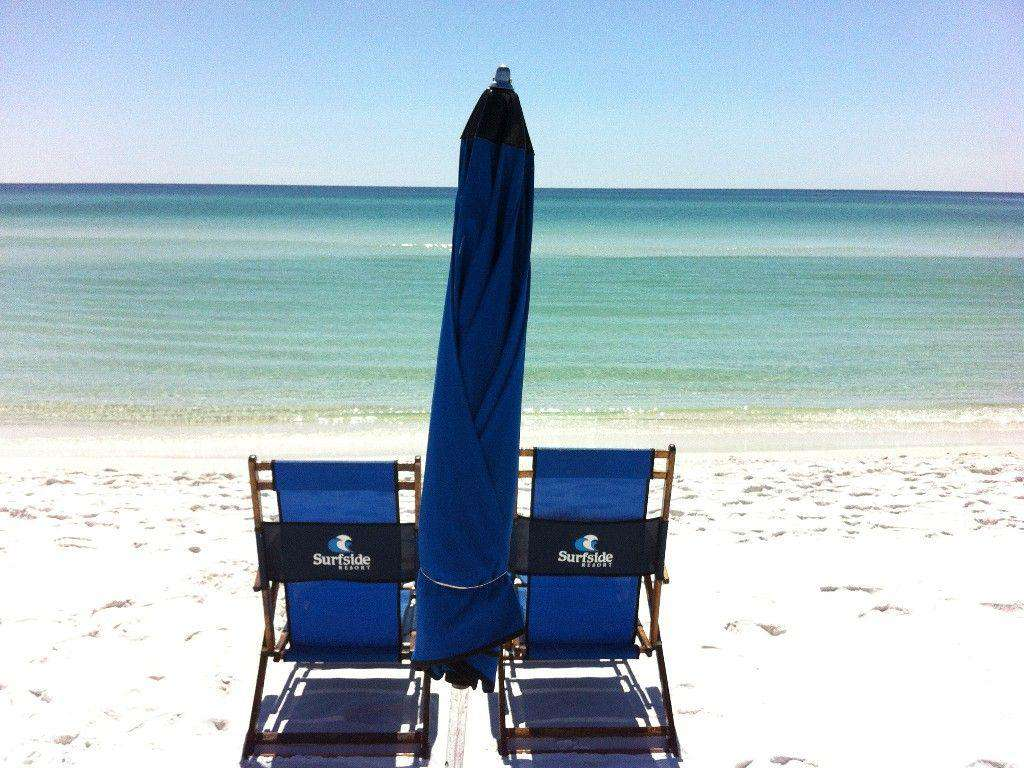 Free beach service comes with this unit- 2 chairs and an umbrella set up daily for you!