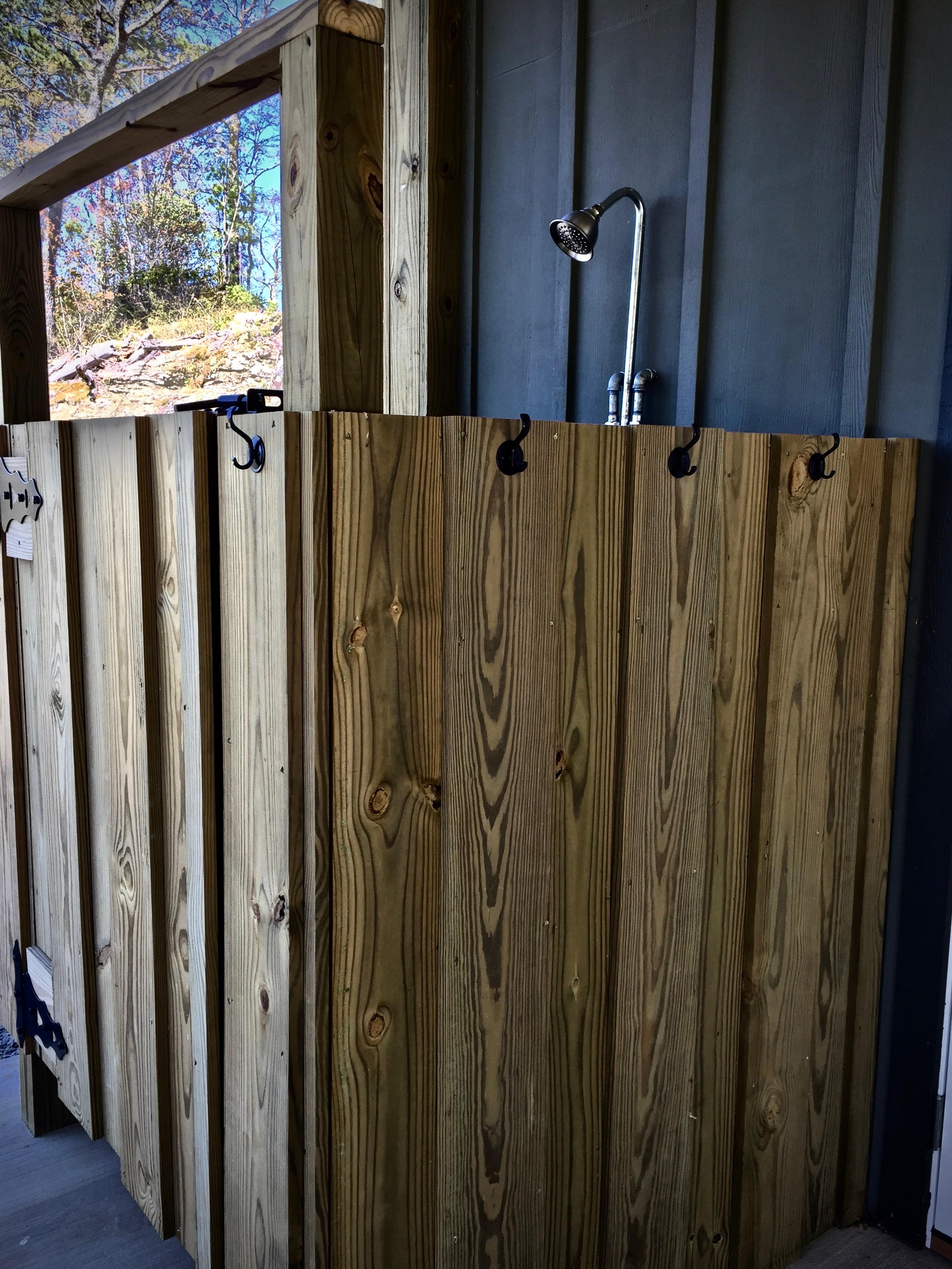 Outdoor Shower is conveniently located near the Hot Tub