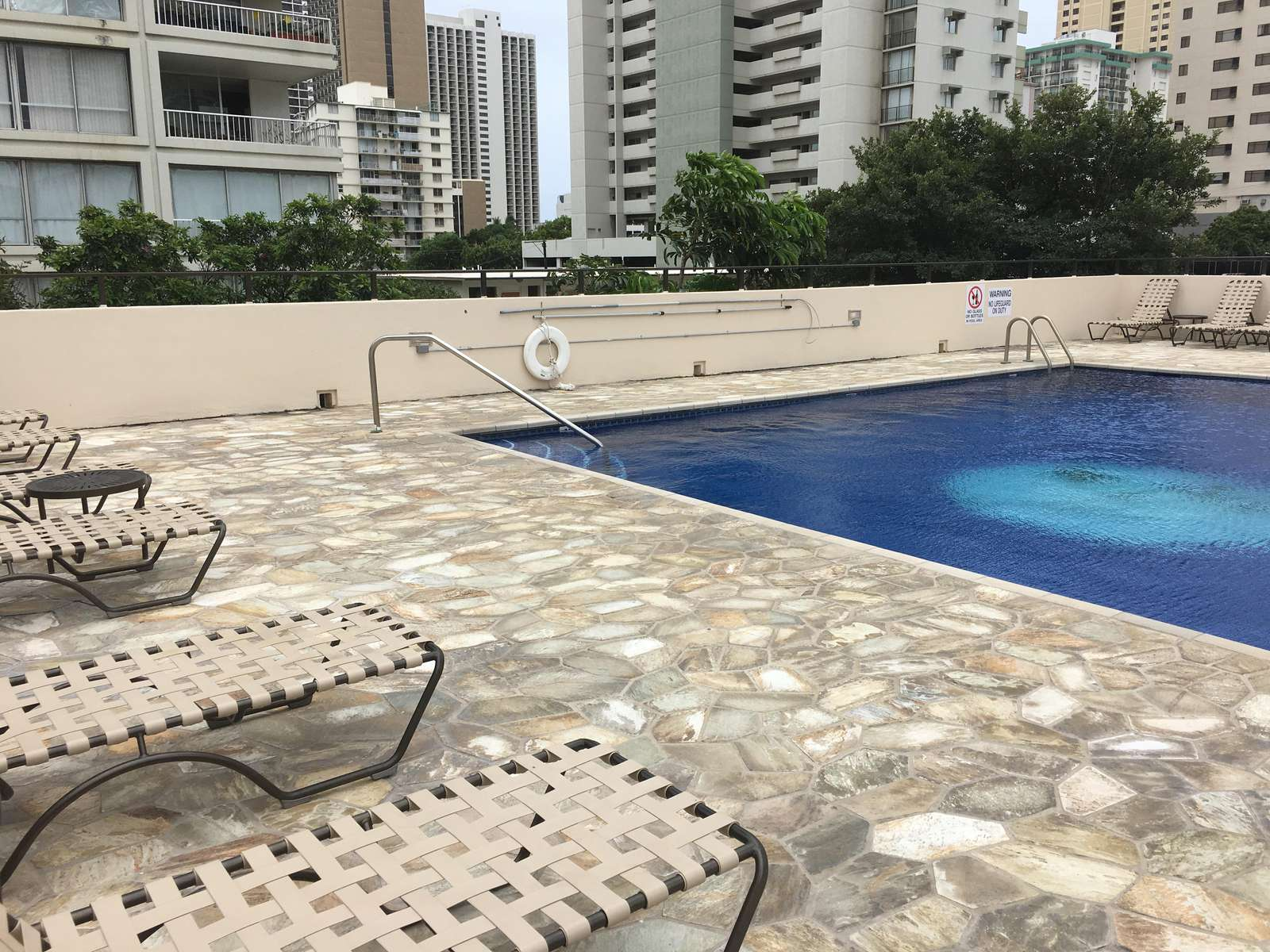 Plenty of roof deck sun loungers and awesome Salt Water Pool