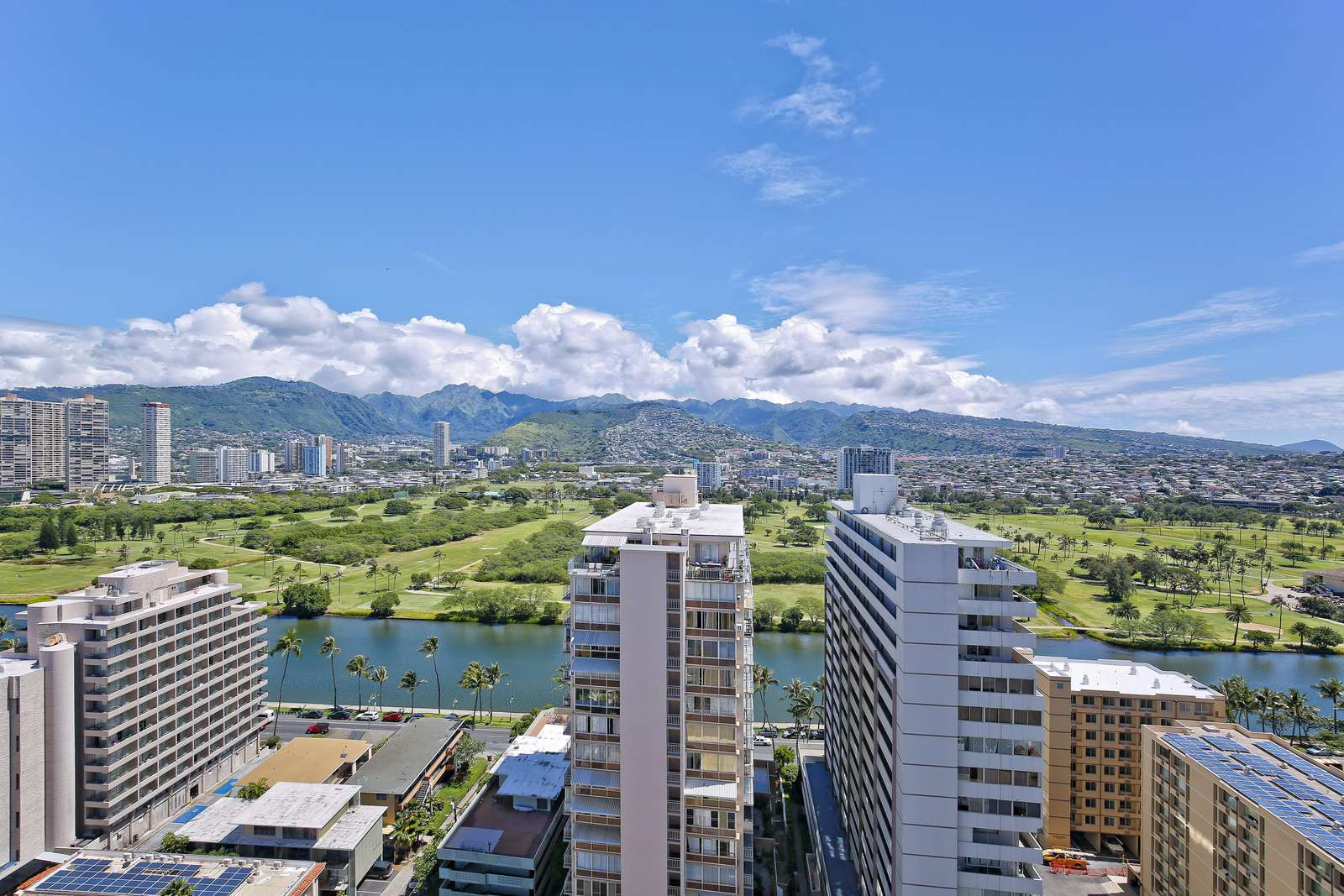 Views of the Mountains and Ala Wai Canal