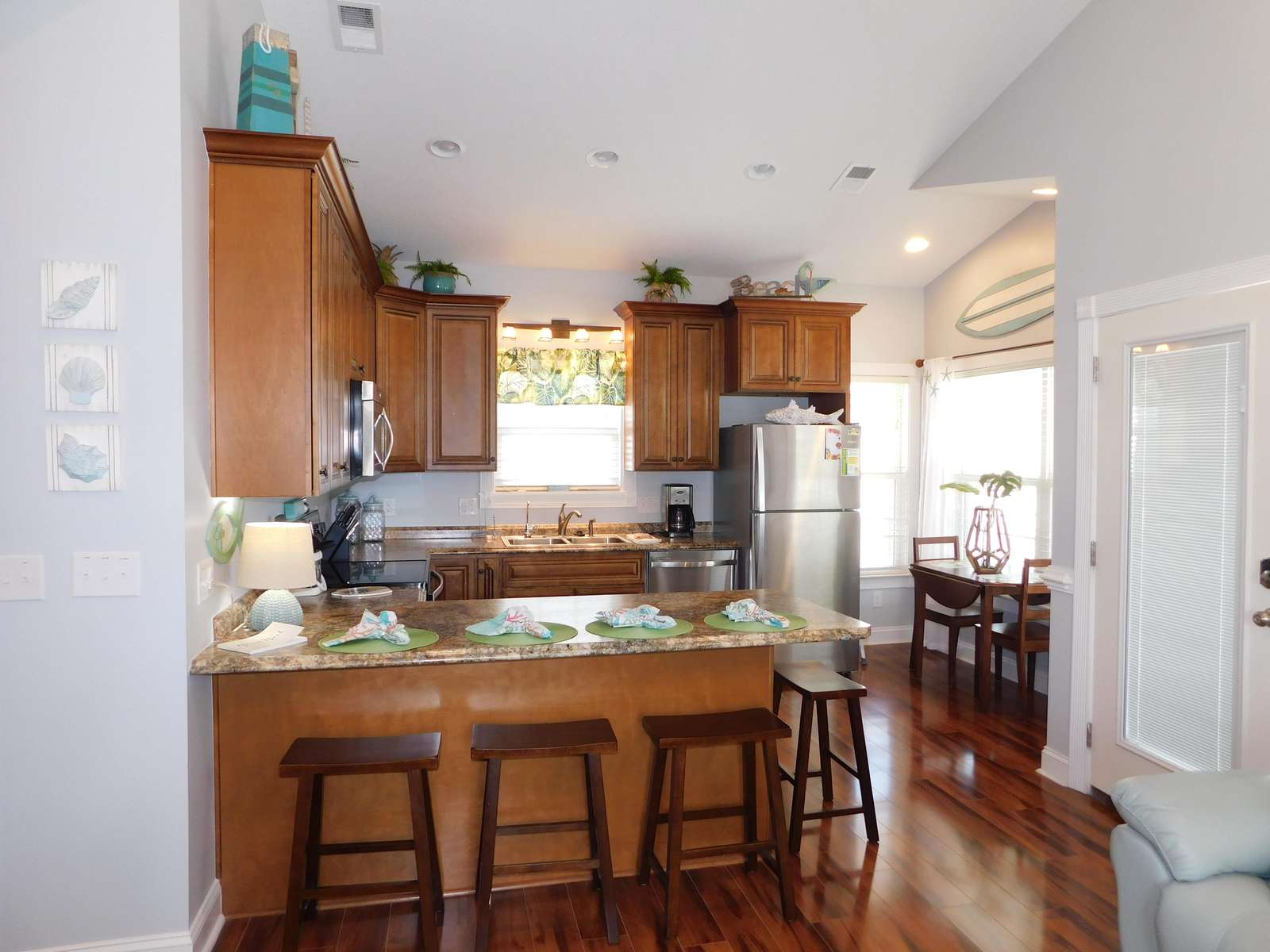 View from family room to the kitchen