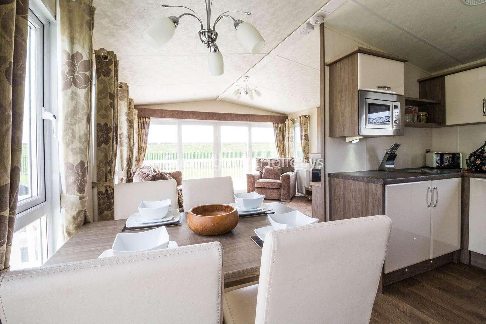 Static home for hire at the St Osyth Beach Holiday Park