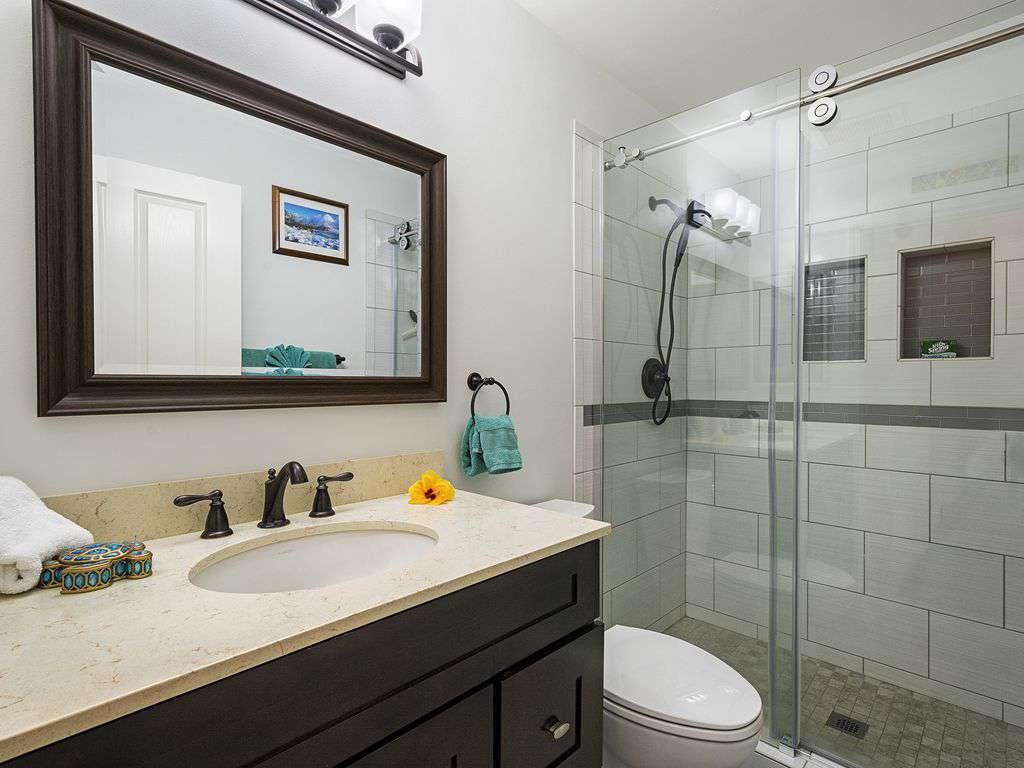 Beautiful newly renovated master bath.
