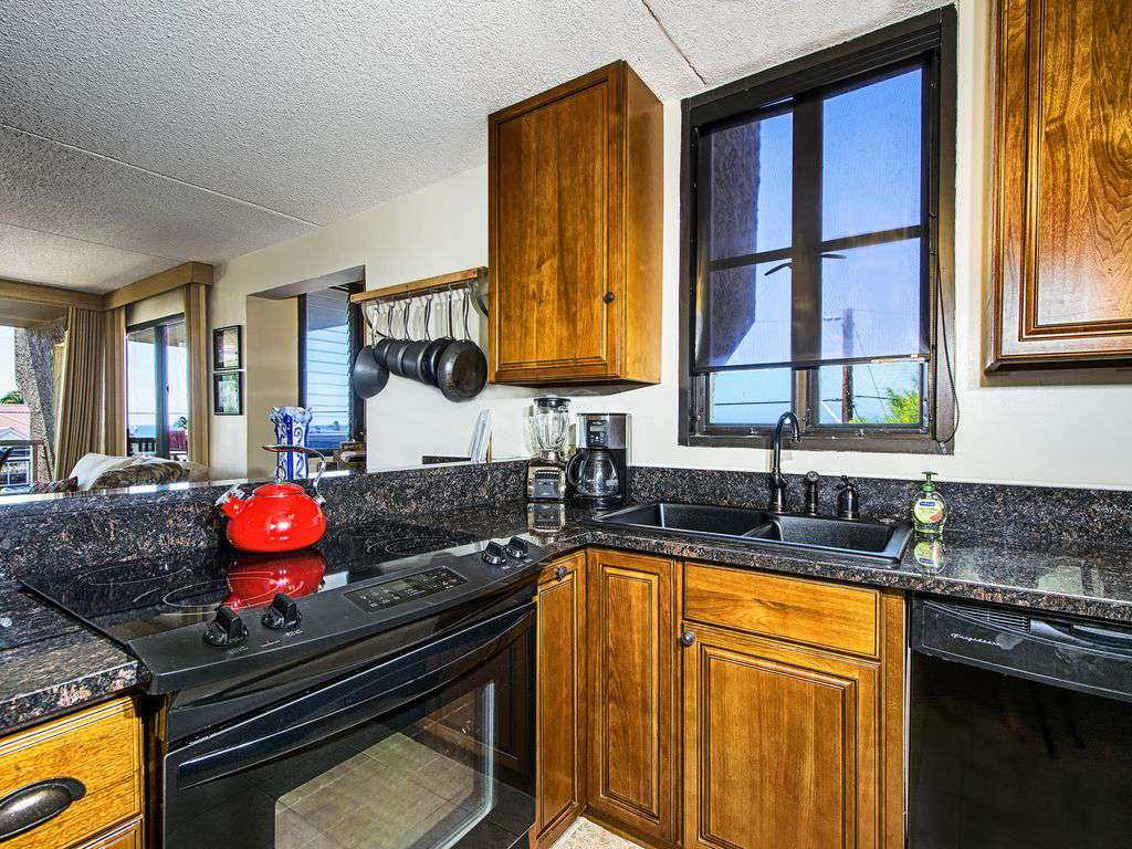 Renovated kitchen with ocean view.