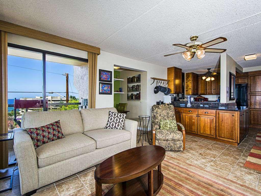Living area, nook for desk, kitchen.