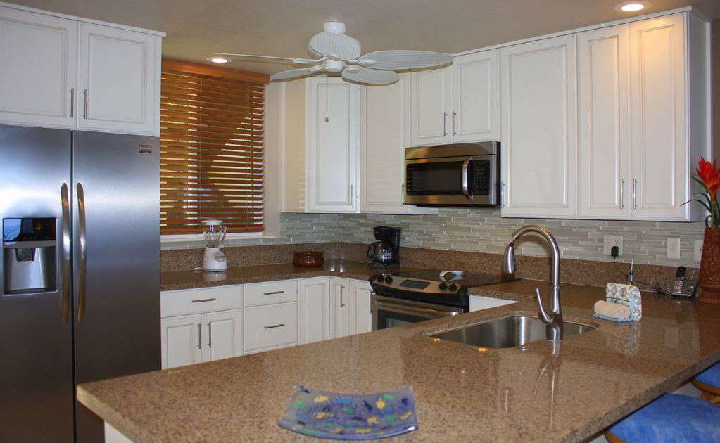 The new kitchen has everything you need to prepare meals & snacks,  bar seats 4.