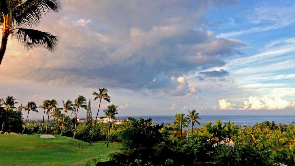 View from the lanai of the golf course