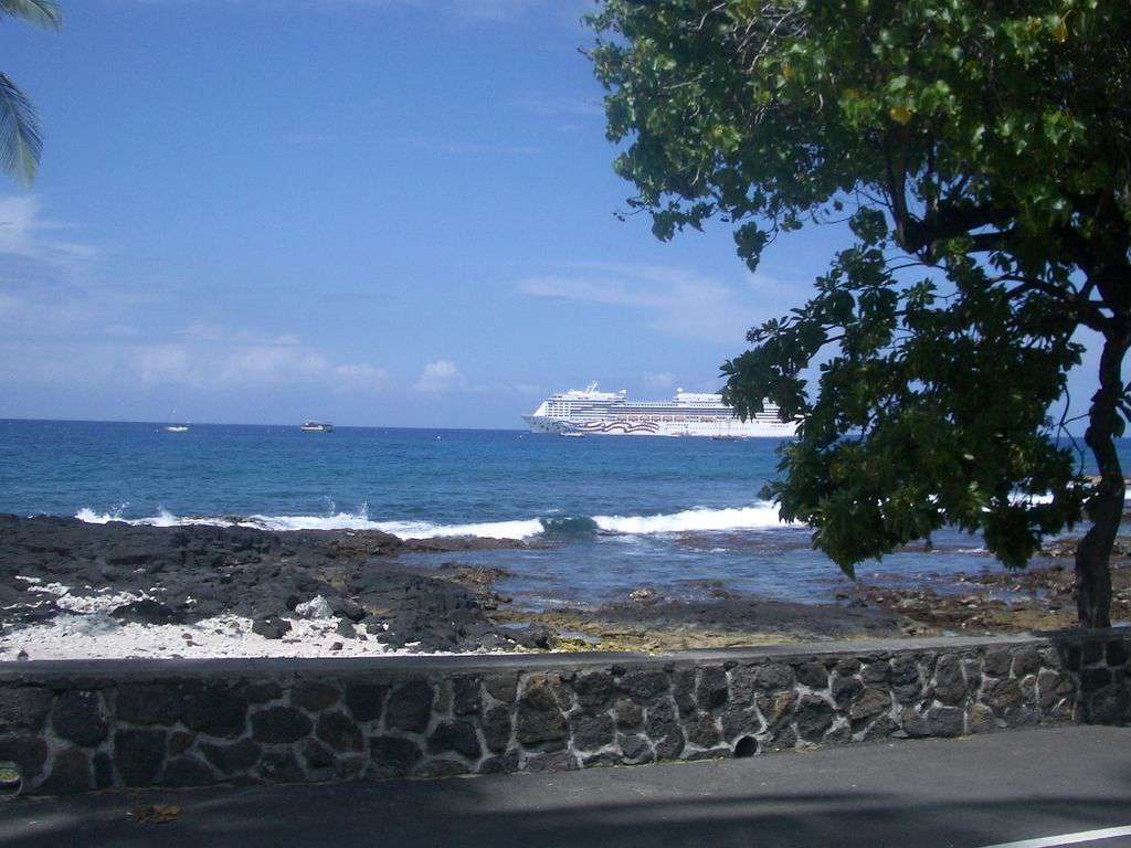 In town, a stroll down Alii Drive affords this beautiful vista!