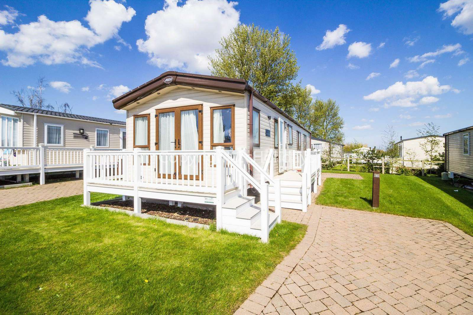 2 bedroom accommodation with decking at the Caister Haven Holiday Park