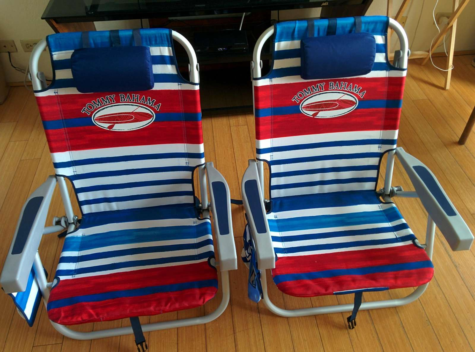 We provide 2 backpack beach chairs.