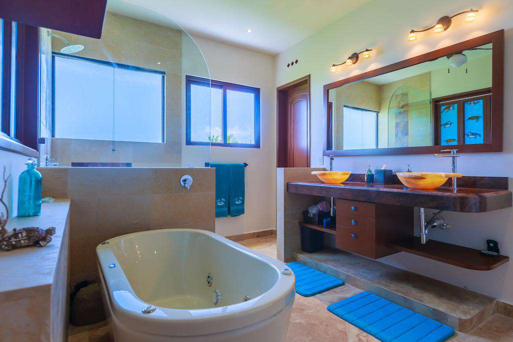Stand alone jet tub in the Master Bedroom