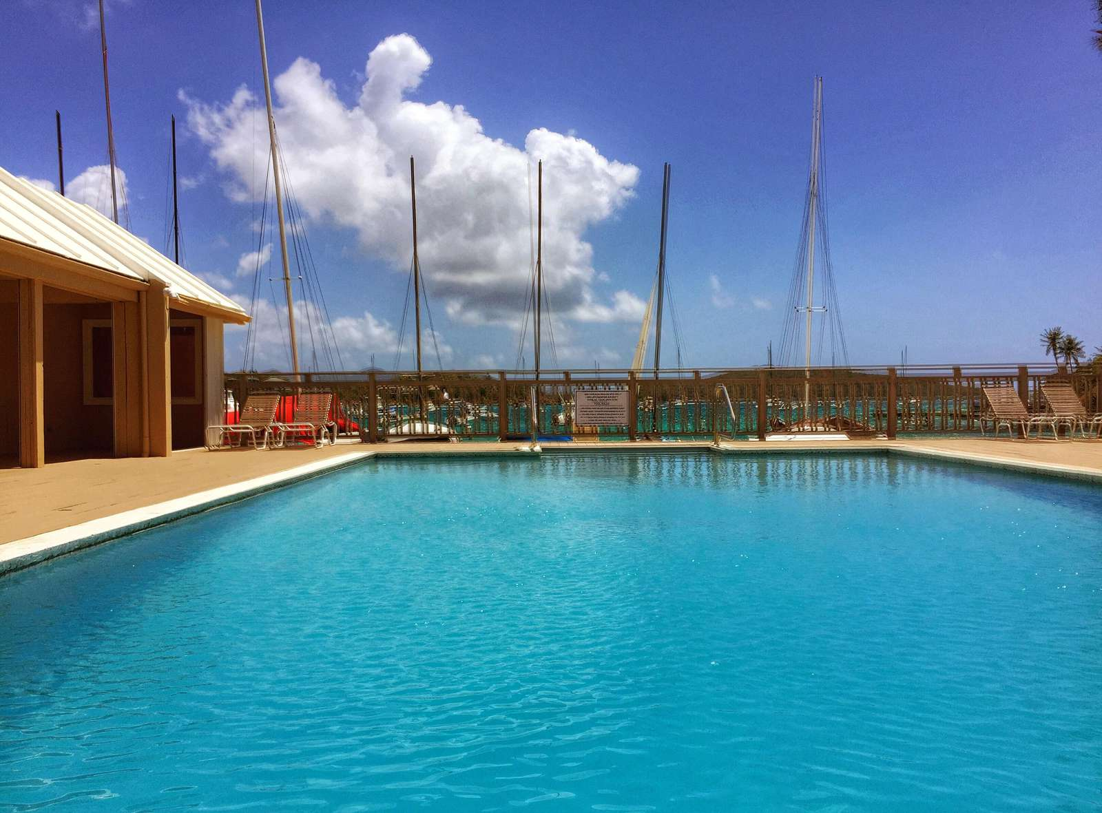 Access to the pool that overlooks the marina