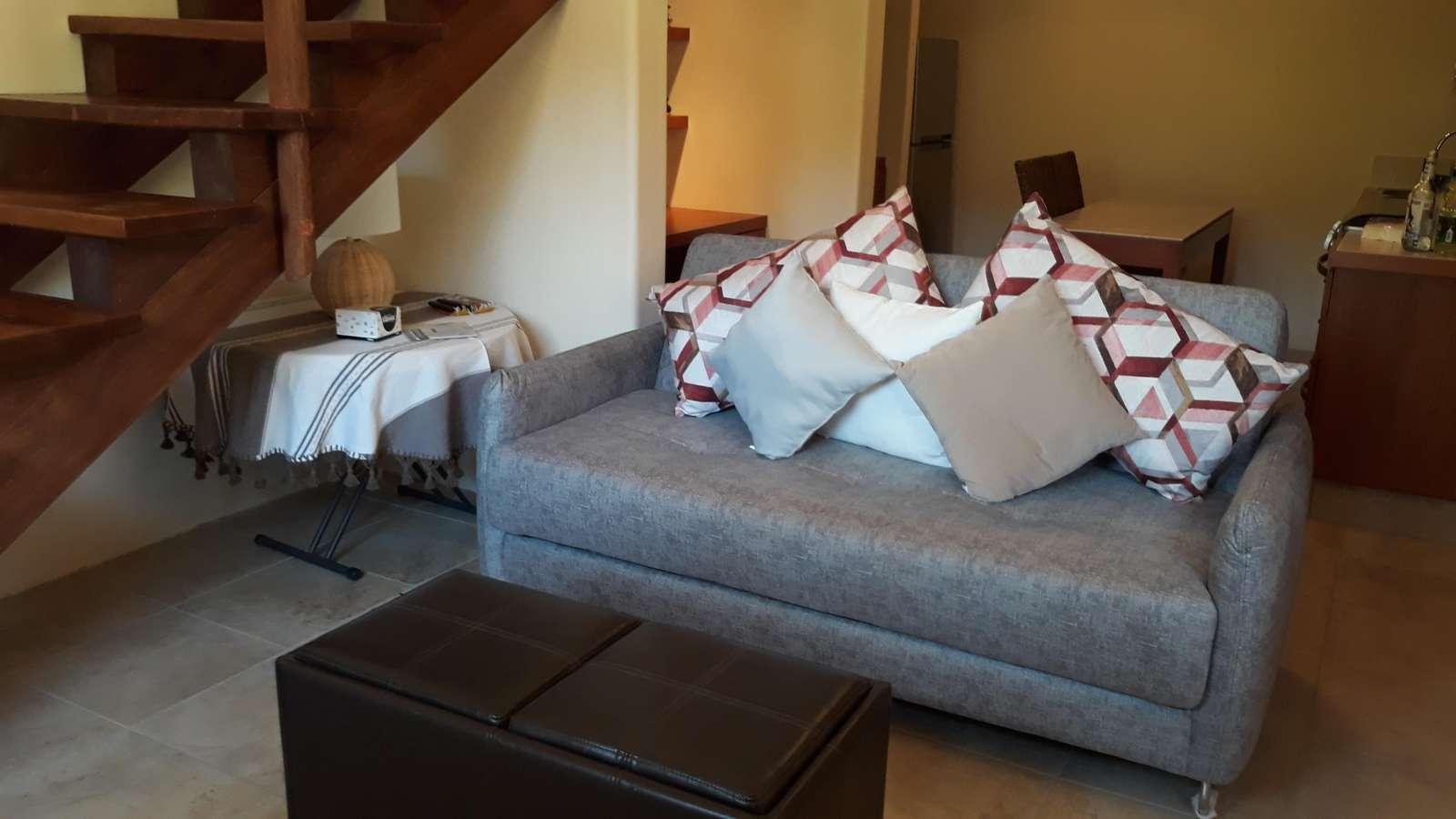 Queen sofa bed in Casita living room