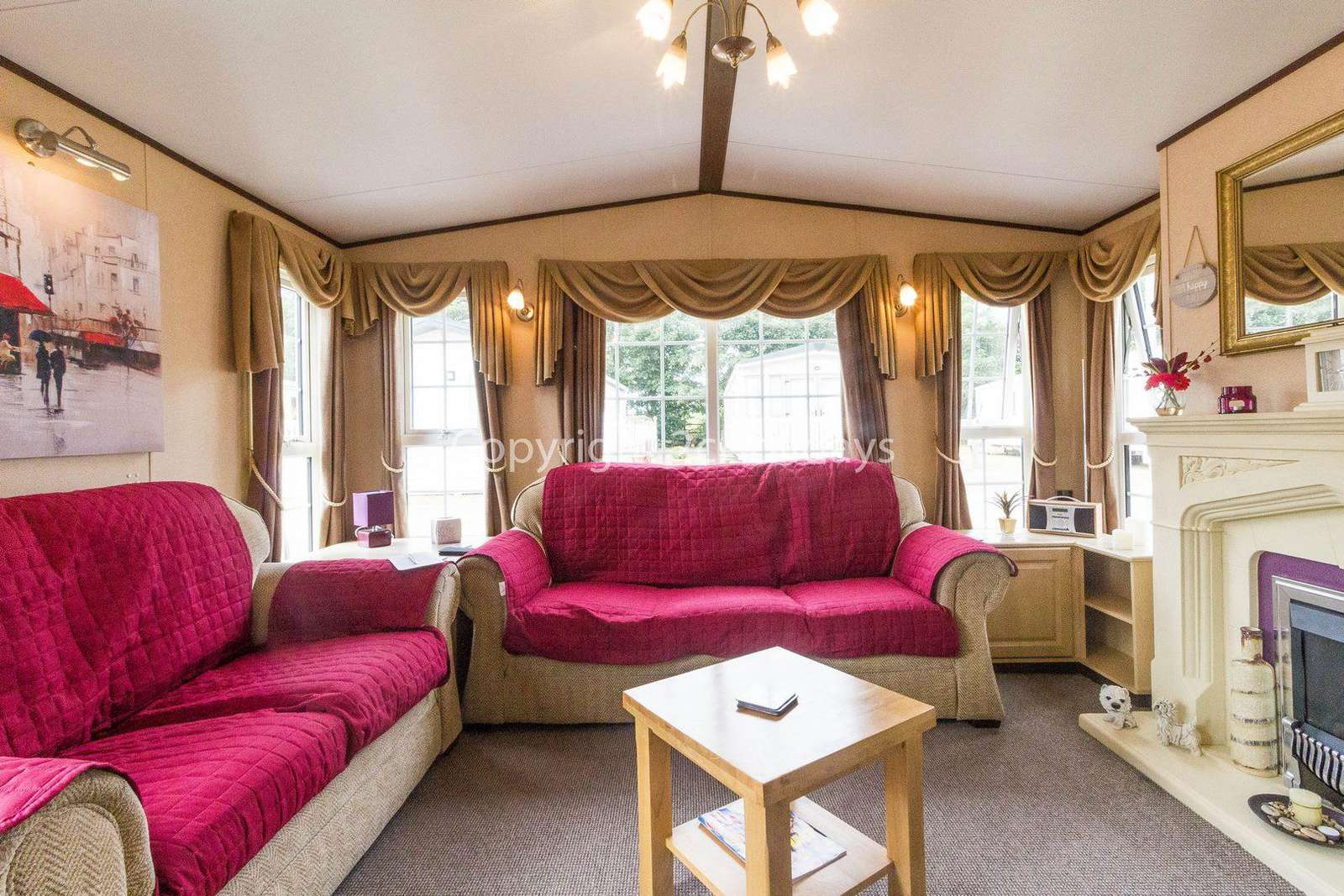 Caravan for hire with a spacious lounge.
