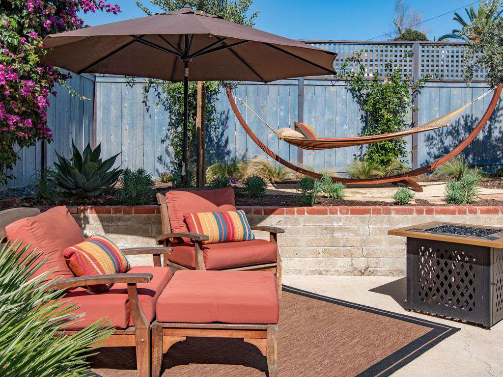 Private and gated back patio for kick-your-feet-up comfort and lounging.