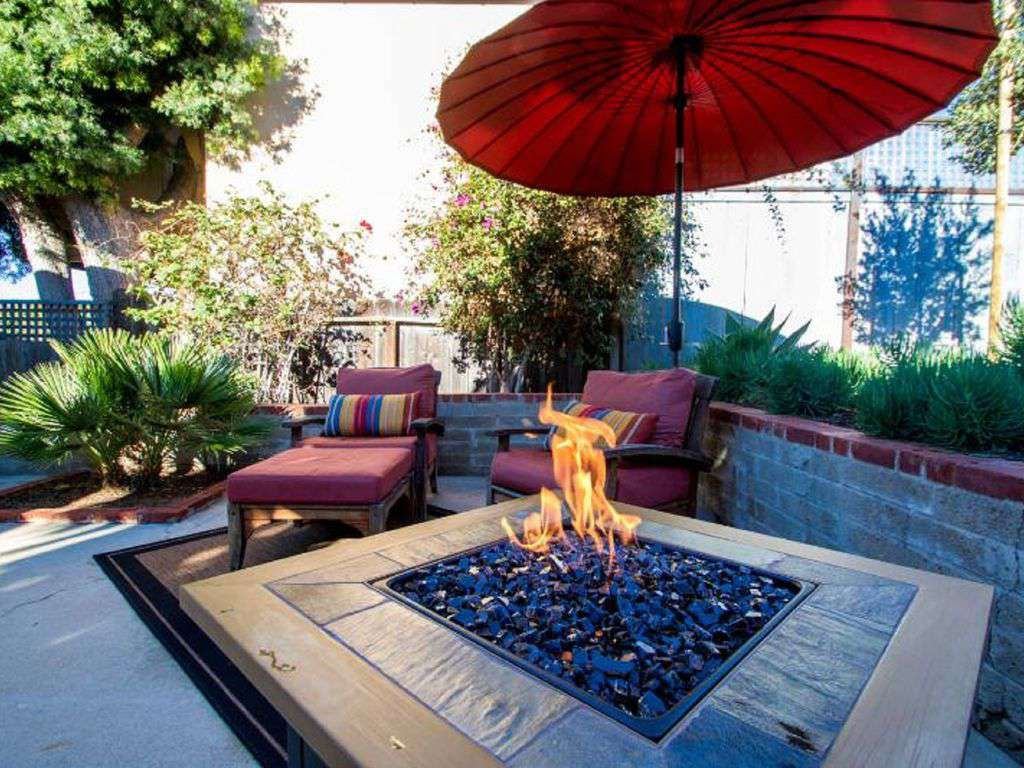 Home includes barbecue grill - and gas fire-pit to chase away any evening chill.