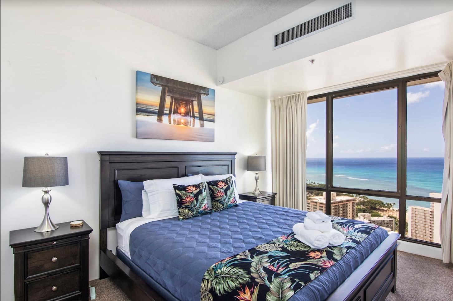 Brand new California King bed in Master bedroom