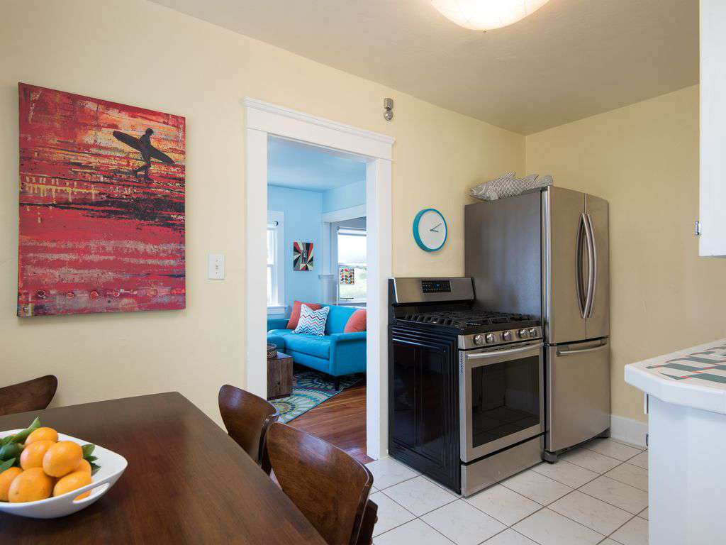 Full size appliances:  french door refrigerator w/ice maker & 5-top  gas range.