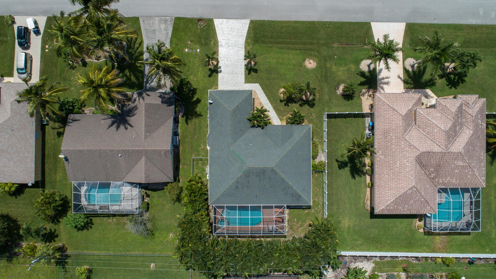 Aerial view of the backyard